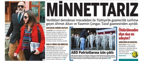 "Front page banner on Dec. 15, showing a picture of Altan and Çongar. The headline reads ""We are grateful"""