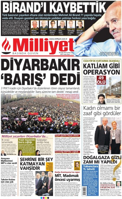 The front page of Milliyet on Jan. 18: 'Diyarbakır said peace'