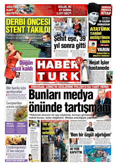 Habertürk parroting the prime minister on Nov. 9. With unintended irony, the headline quotes Erdoğan's response to Deputy PM Bülent Arınç's criticism of the mixed-sex student housing debate: 'I don't discuss these things in front of the media'.