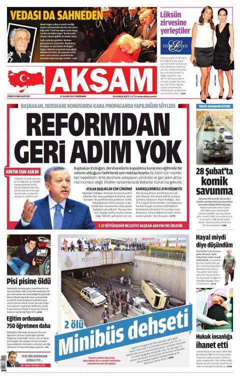 """Echoing Erdoğan: """"No step back from dershane reform"""""""