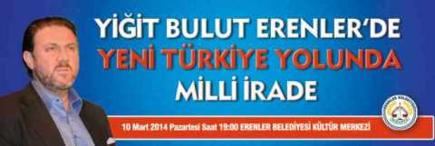 """Advertisement for Yiğit Bulut's pre-election """"National Will"""" lecture tour, arriving in Istanbul's Esenler district."""