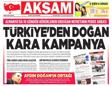 """Akşam claims that """"Turkish-Europe"""" lobbies - including Turkish media boss Aydın Doğan - are working in partnership in a slander campaign against the AKP government."""