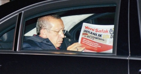 PM Erdoğan snapped while reading Yeni Şafak recently.