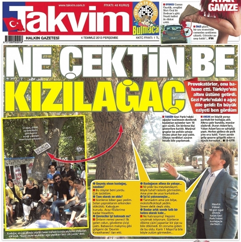 Takvim's legendary interview with a tree, which appeared during last year's Gezi protests.